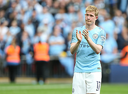 Kevin De Bruyne of Manchester City applauds the fans at the final whistle - Mandatory by-line: Arron Gent/JMP - 18/05/2019 - FOOTBALL - Wembley Stadium - London, England - Manchester City v Watford - Emirates FA Cup Final
