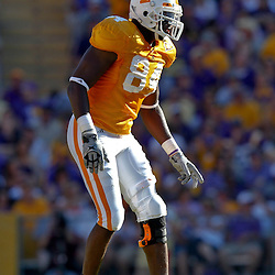 Oct 2, 2010; Baton Rouge, LA, USA; Tennessee Volunteers defensive end Chris Walker (84) lines up against the LSU Tigers during the second half at Tiger Stadium. LSU defeated Tennessee 16-14.  Mandatory Credit: Derick E. Hingle
