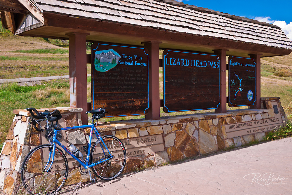 Bicycle on the San Juan Skyway (Highway 145) at Lizard Head Pass, San Juan National Forest, Colorado