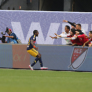 Chris Duvall , New York Red Bulls, celebrates after scoring his sides second goal during the New York City FC Vs New York Red Bulls, MSL regular season football match at Yankee Stadium, The Bronx, New York,  USA. 28th June 2015. Photo Tim Clayton