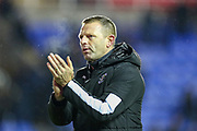 """Luton Town Manager Graeme Jones says """"I know"""" to Luton Town fans at full time during the EFL Sky Bet Championship match between Reading and Luton Town at the Madejski Stadium, Reading, England on 9 November 2019."""