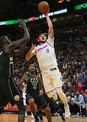 February 9, 2018 - Miami, FL, USA - The Miami Heat's Tyler Johnson goes to the basket against the Milwaukee Bucks' Thon Maker during the second quarter at the AmericanAirlines Arena in Miami on Friday, Feb. 9, 2018. The Heat won, 91-85. (Credit Image: © David Santiago/TNS via ZUMA Wire)