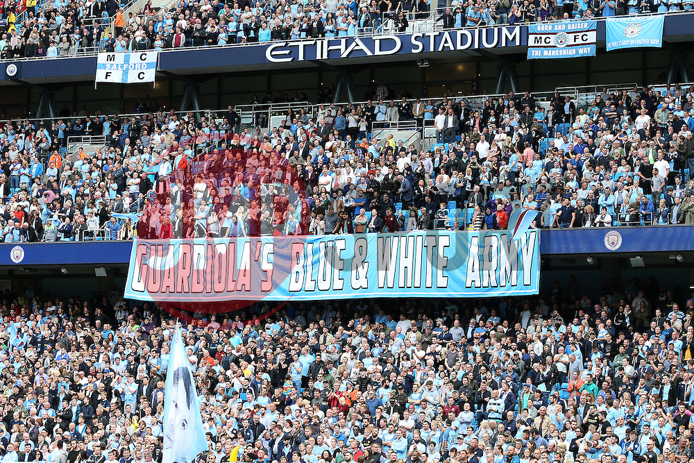 A Pep Guardiola banner behind the goal - Mandatory by-line: Matt McNulty/JMP - 13/08/2016 - FOOTBALL - Etihad Stadium - Manchester, England - Manchester City v Sunderland - Premier League