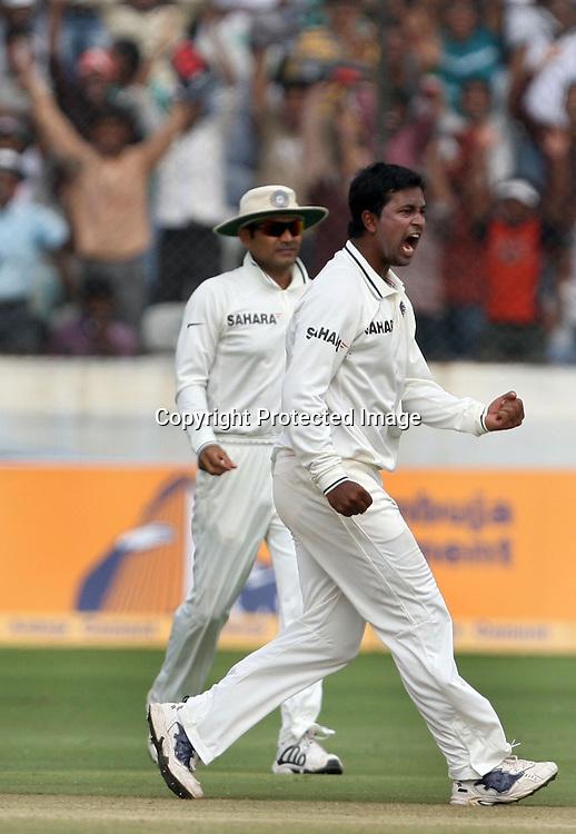 Indian bowler Pragiyan Ojha celebrtaes New Zealand batsman Tim McIntosh wicket during the 2nd test match Indian vs New Zealand day-4 Played at Rajiv Gandhi International Stadium, Uppal, Hyderabad, 15 November 2010 (5-day match)