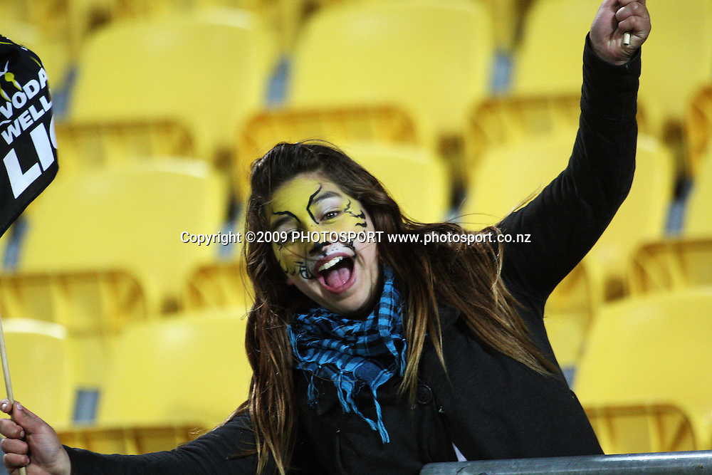 A happy Lions fan after the match.<br /> Air NZ Cup Ranfurly Shield match - Wellington Lions v Otago at Westpac Stadium, Wellington, New Zealand. Friday, 31 July 2009. Photo: Dave Lintott/PHOTOSPORT