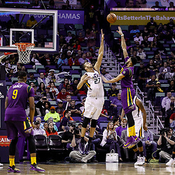 Feb 8, 2017; New Orleans, LA, USA; New Orleans Pelicans forward Anthony Davis (23) shoots over Utah Jazz center Rudy Gobert (27) during the second half of a game at the Smoothie King Center. The Jazz defeated the Pelicans 127-94.  Mandatory Credit: Derick E. Hingle-USA TODAY Sports