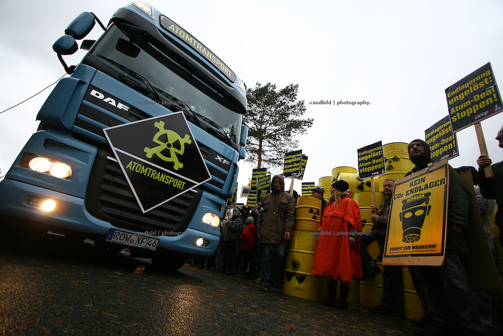 """Today several hundred protesters have packed a modell of a nuclear waste transport container (castor)  to sent it back by truck to the german government in Berlin. The campaign Campact had organized this kind of """"return to sender"""" protest to show the peoples will for a general change of the german energy policy. The protest has taken place two weeks before a new nuclear castor transport from LaHague to Gorleben."""