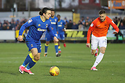AFC Wimbledon attacker Egli Kaja (21) dribbling during the EFL Sky Bet League 1 match between AFC Wimbledon and Southend United at the Cherry Red Records Stadium, Kingston, England on 1 January 2018. Photo by Matthew Redman.