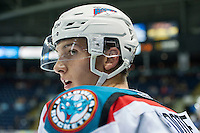 KELOWNA, CANADA - SEPTEMBER 5: Cal Foote #25 of Kelowna Rockets stands on the bench against the Prince George Cougars on September 5, 2015 during the first pre-season game at Prospera Place in Kelowna, British Columbia, Canada.  (Photo by Marissa Baecker/Shoot the Breeze)  *** Local Caption *** Cal Foote;