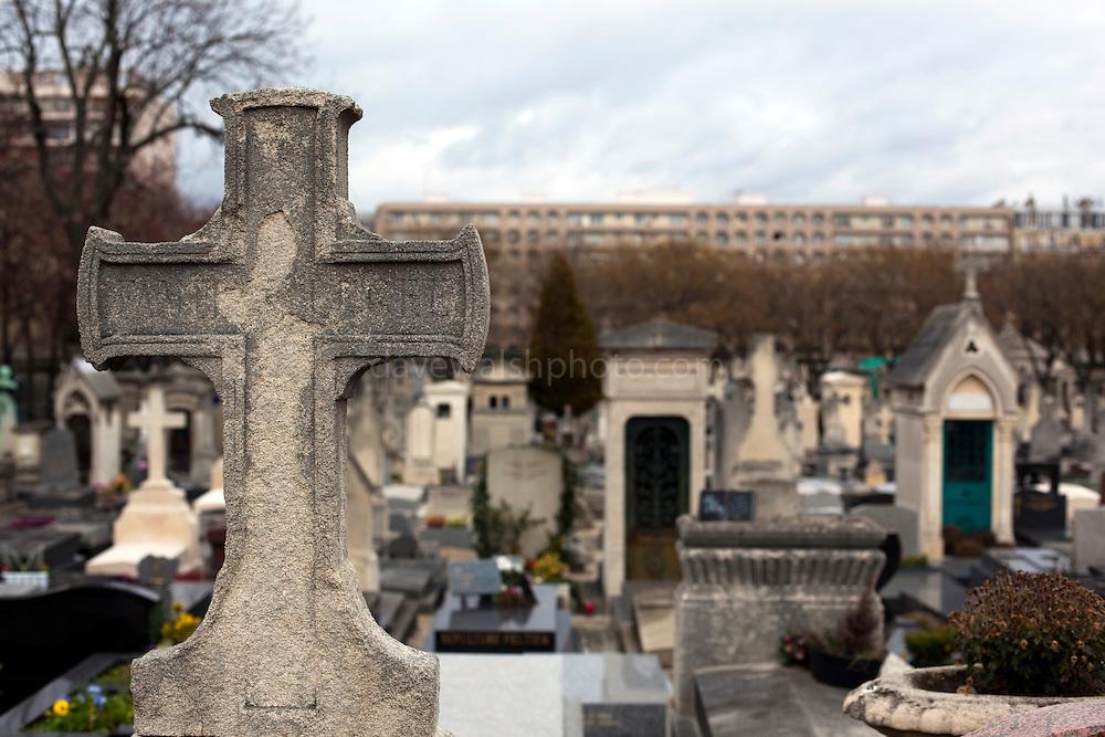 Stone cross in Montparnasse Cemetery, Paris