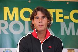 MONTE-CARLO, MONACO - Sunday, April 18, 2010: Rafael Nadal (ESP) during a press conference following his 6-0, 6-1 Men's Singles Final victory on day seven of the ATP Masters Series Monte-Carlo at the Monte-Carlo Country Club. (Photo by David Rawcliffe/Propaganda)
