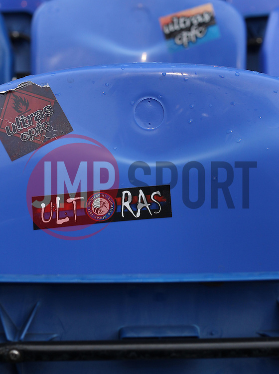 A sticker on a seat at Selhurst Park - Photo mandatory by-line: Robbie Stephenson/JMP - Mobile: 07966 386802 - 14/02/2015 - SPORT - Football - London - Selhurst Park - Crystal Palace v Liverpool - FA Cup - Fifth Round