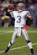 MINNEAPOLIS - NOVEMBER 21:  Quarterback Joey Harrington #3 of the Detroit Lions unloads a pass against the Minnesota Vikings at the Hubert H. Humphrey Metrodome on November 21, 2004 in Minneapolis, Minnesota. The Vikings defeated the Lions 22-19. ©Paul Anthony Spinelli  *** Local Caption *** Joey Harrington