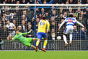 Goal - Aramide Oteh (18) of Queens Park Rangers scores a goal from the penalty spot beating Bailey Peacock-Farrell (1) of Leeds United to give a 1-0 lead to the home team during the The FA Cup 3rd round match between Queens Park Rangers and Leeds United at the Loftus Road Stadium, London, England on 6 January 2019.