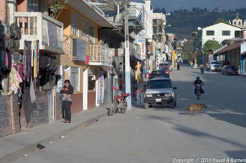 Main shopping street in Saraguro, Ecuador