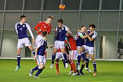 EDINBURGH, SCOTLAND - Tuesday, November 1, 2016: Wales' Cameron Evans in action against Scotland's Kieran McGrath during the Under-16 2016 Victory Shield match at ORIAM. (Pic by David Rawcliffe/Propaganda)