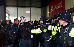 © under license to London News Pictures. 30/11/2010 Students attempt to storm a university building today (Tuesday). Demonstrations all over the UK are taking place to protest against proposed higher education fees. Credit should read: David Hedges/LNP