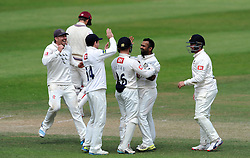 Sussex's Ashar Zaidi celebrates the wicket of Somerset's James Hildreth - Photo mandatory by-line: Harry Trump/JMP - Mobile: 07966 386802 - 08/07/15 - SPORT - CRICKET - LVCC - County Championship Division One - Somerset v Sussex- Day Four - The County Ground, Taunton, England.