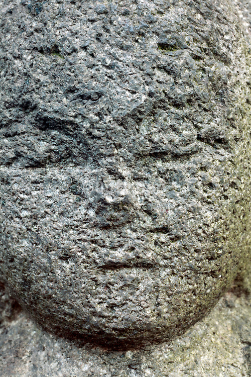 extreme close up head of a Sekibutu, stone Buddha, late Edo period