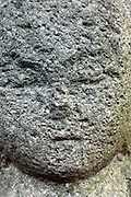 extreme close up head of a Sekibutu, stone Buddha, late Edo period