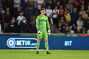 Bailey Peacock-Farrell (1) of Leeds United during the EFL Sky Bet Championship match between Swansea City and Leeds United at the Liberty Stadium, Swansea, Wales on 21 August 2018.