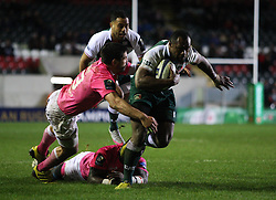 Vereniki Goneva of Leicester Tigers (R) in action - Mandatory byline: Jack Phillips / JMP - 07966386802 - 13/11/15 - RUGBY - Welford Road, Leicester, Leicestershire - Leicester Tigers v Stade Francais - European Rugby Champions Cup Pool 4