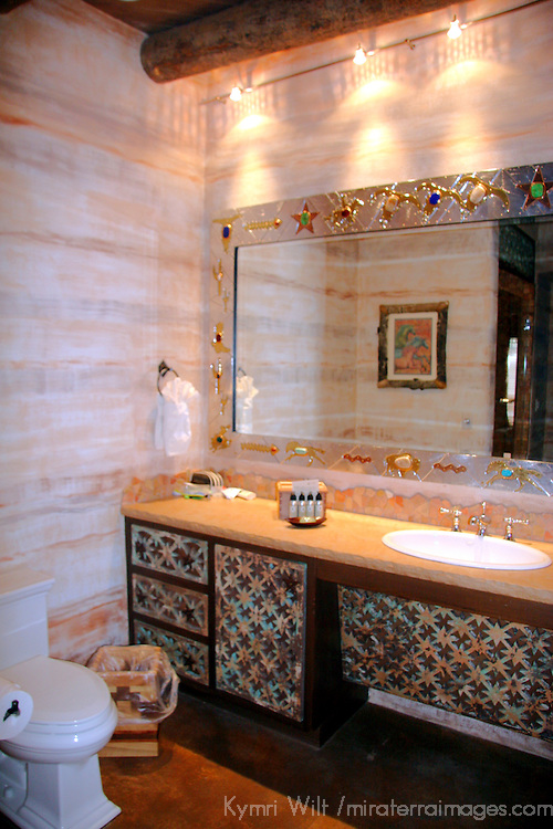 North America, United States, New Mexico, Taos. El Monte Sagrado eco-resort. Exquisite bathroom of the Argentina Suite.
