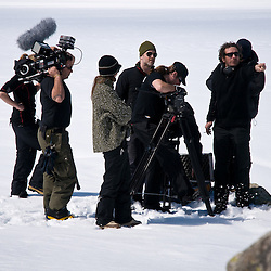 The crew sets up for a telephoto shot of Alfred meeting the Man in the Ice.