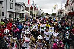 Riders line up for the start of the Crescent Vargarda - a 152 km road race, starting and finishing in Vargarda on August 13, 2017, in Vastra Gotaland, Sweden. (Photo by Balint Hamvas/Velofocus.com)