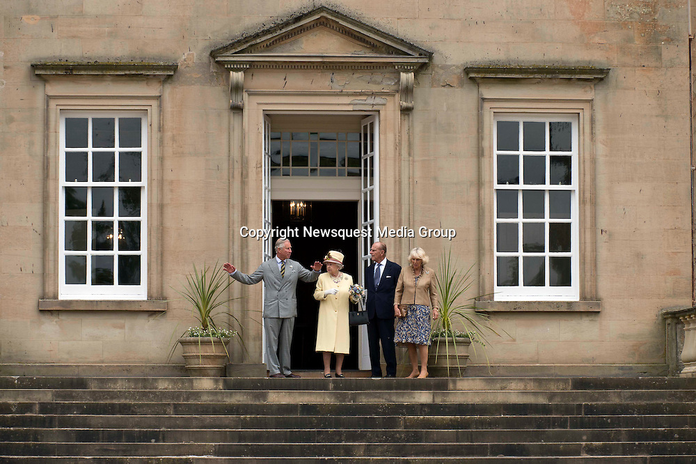 Picture Christian Cooksey. The opening of the Queen Elizabeth Walled Garden at Dumfries House. On the steps of Dumfries House. LtoR. HRH Prince Charles, The Duke of Rothesy, HRH Queen Elizabeth, HRH Prince Phillip and the Duchess of Cornwall.