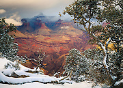 A winter scene at the Grand Canyon. From the South Rim near Grandeur Point.
