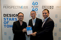 Designers Joseph Ng (C) and Billy Potts (R) receive their 40 Under 40 Perspective magazine award.