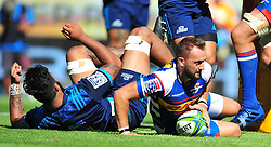 Cape Town-180317 Dewaldt Duwenage  of the DHL Stomers scoring a try against Blues in the Super Rugby tournament  at Newlands rugby stadium.Photograph:Phando Jikelo/African News Agency/ANA