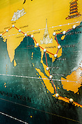 Flight route map at the Pennisula Bangkok heli-pad lounge