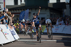 Emilie Moberg (NOR) of Hitec Products Cycling Team wins Stage 5 of the Healthy Ageing Tour - a 117.9 km road race, starting and finishing in Borkum on April 9, 2017, in Groeningen, Netherlands.