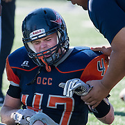 11/5/2016 2:59:58 PM --- Orange Coast College linebacker Brandon Safford (47) injured during their game against Fullerton College at LeBard Stadium, Orange Coast College, Costa Mesa, CA. <br /> <br /> Photo by Jason Refuerzo/Sports Shooter Academy 13
