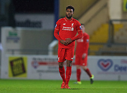 CHESTER, ENGLAND - Friday, October 23, 2015: Liverpool's Jerome Sinclair looks dejected as Benfica score the opening goal during the Premier League International Cup match at the Deva Stadium. (Pic by David Rawcliffe/Propaganda)