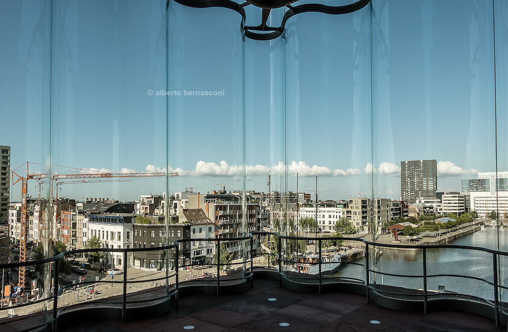 Antwerp, view of the city from 5th floor of Mas musuem