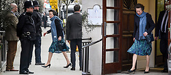 © Licensed to London News Pictures. 12/04/2018. London, UK. PRINCESS ANNE, the first visitor to see Prince Philip during his 10 day stay, is seen arriving (Left) at King Edward VII Hospital at 4:12pm and leaving (right) at 4.56pm, spending less than 45 minutes with him. The Duke underwent an hour-long, planned operation at the private hospital in central London. Photo credit: Ben Cawthra/LNP