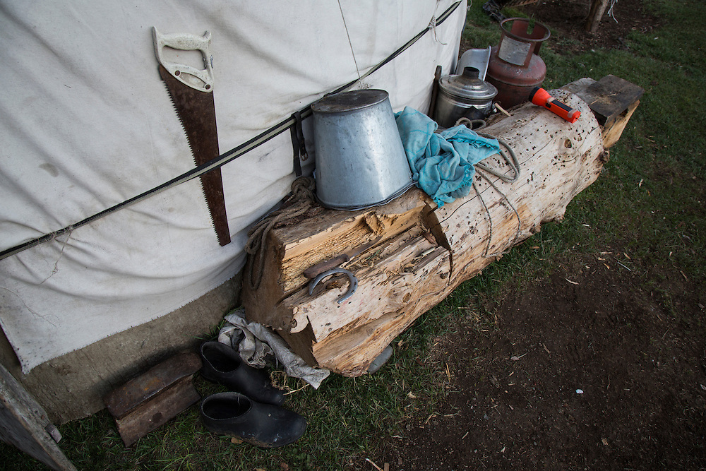 Tools used by the Kyrgyz cowboys at their camp.