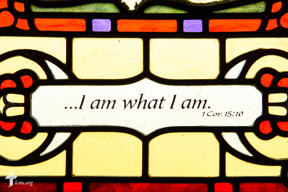 """Stained glass at St. Paul Evangelical Lutheran Church in Columbus, Ind., depicts scripture """"I am what I am,"""" photographed Sunday, April 10, 2016. LCMS Communications/Erik M. Lunsford"""