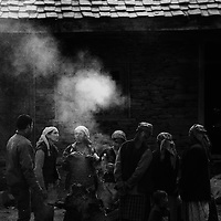 Group of villagers assembled in the evening for discussion in Banjar Valley, Himachal Pradesh.