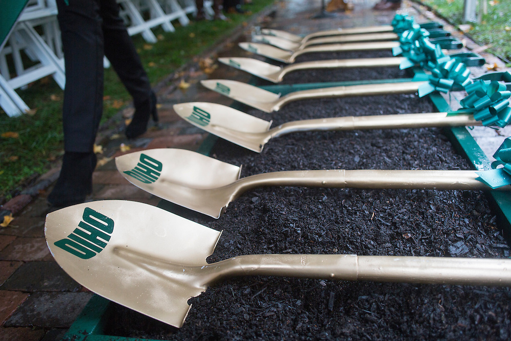 Shovels used to break ground for the burial of a time capsule are displayed at the Cutler Hall Bicentennial celebration on October 21, 2016.