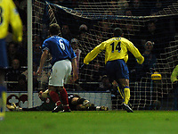 Photo: Javier Garcia/Back Page Images<br />Portsmouth v Arsenal, FA Barclays Premiership, Fratton Park, 19/12/04<br />James Ashdown in the Portsmouth goal is beaten by Sol Campbell's match winning speculative strike from Sol Campbell