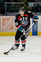 KELOWNA, CANADA, NOVEMBER 25: Colton Sissons #15 of the Kelowna Rockets skates with the puck as the Kootenay Ice visit the Kelowna Rockets  on November 25, 2011 at Prospera Place in Kelowna, British Columbia, Canada (Photo by Marissa Baecker/Shoot the Breeze) *** Local Caption *** Colton Sissons;