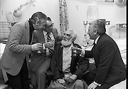 Noel Purcell Celebrates His 81st Birthday.23.12.1981..12.23.1981..23rd December 1981..Noel Purcell celebrates his 81st birthday in the Adelaide Hospital.having a drop of the hard stuff with friends, Gay Byrne,Hal Roache and Joe Lynch.
