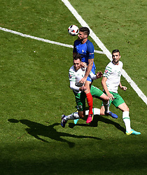 Olivier Giroud of France battles for the high ball with, Richard Keogh of Republic of Ireland  - Mandatory by-line: Joe Meredith/JMP - 26/06/2016 - FOOTBALL - Stade de Lyon - Lyon, France - France v Republic of Ireland - UEFA European Championship Round of 16