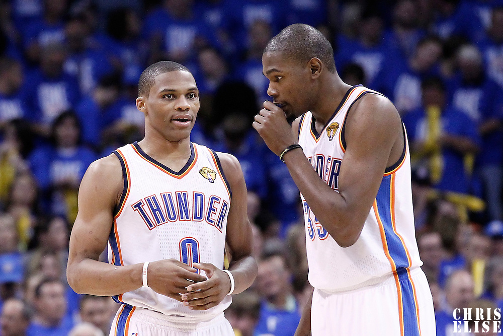 12 June 2012: Oklahoma City Thunder small forward Kevin Durant (35) talks to Oklahoma City Thunder point guard Russell Westbrook (0) during the Oklahoma City Thunder 105-94 victory over the Miami Heat, in Game 1 of the 2012 NBA Finals, at the Chesapeake Energy Arena, Oklahoma City, Oklahoma, USA.