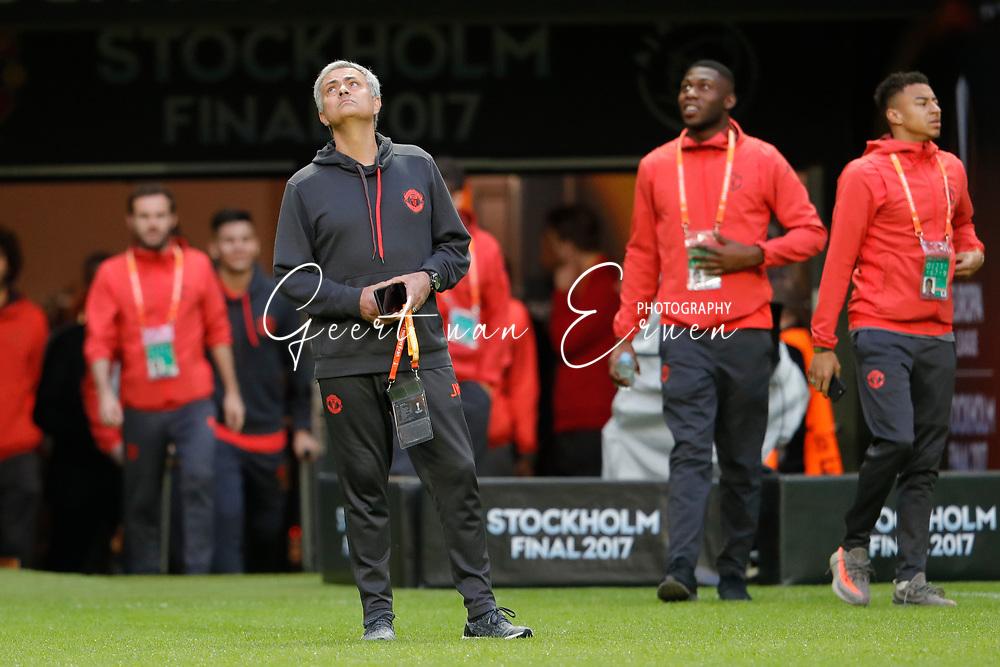 23-05-2017 VOETBAL:FINALE EUROPA LEAGUE:STOCKHOLM<br /> <br /> Ajax traint in het stadion dag voor de wedstrijd. Manchester United proefde alleen aan het veld vanwege de aanslag in Manchester. Trainer/Coach Jose Mourinho van Manchester United <br /> <br /> Foto: Geert van Erven