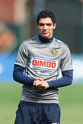 July 16, 2011; San Francisco, CA, USA;  Club America forward Raul Alonso Jimenez (29) warms up before the game at AT&T Park. Manchester City defeated Club America 2-0.